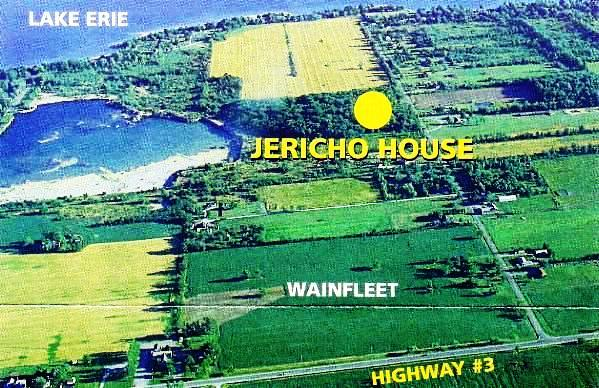 Aerial view of new Jericho House site on Rathfon Rd., Wainfleet, near Highway 3, Lake Erie, and the Welland Canal