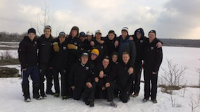 Yooung Guelph hockey team in front of the quarry in the conservation area adjoining the Jericho House property.