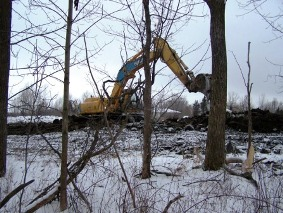 The backhoe on the Wainfleet site
